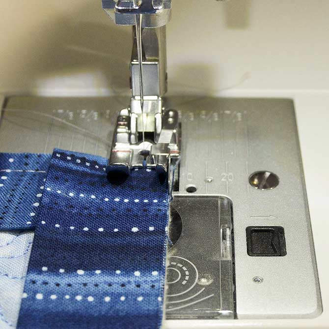 Continue sewing over folded corner