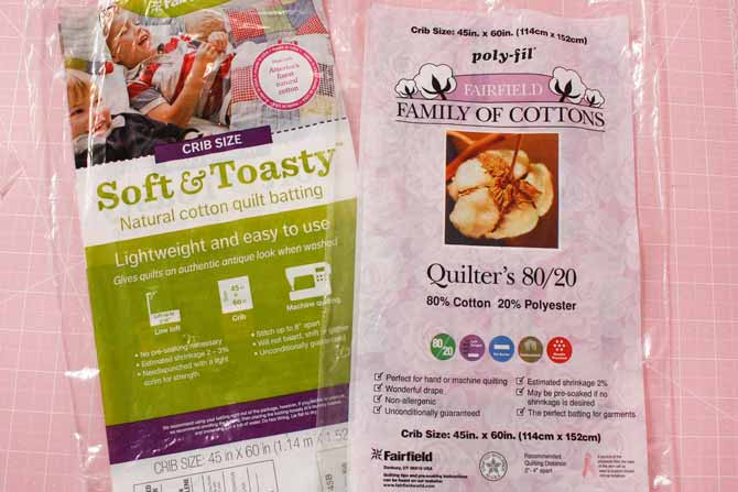 Soft & Toasty and Quilter's 80/20 battings from Fairfield