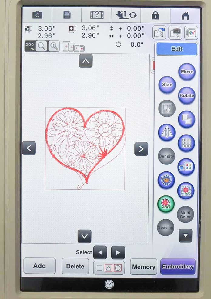 LCD screen showing my chosen heart design and options that are available