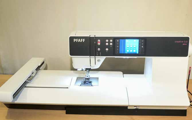 The creative 3.0 from PFAFF is set up with the embroidery unit.