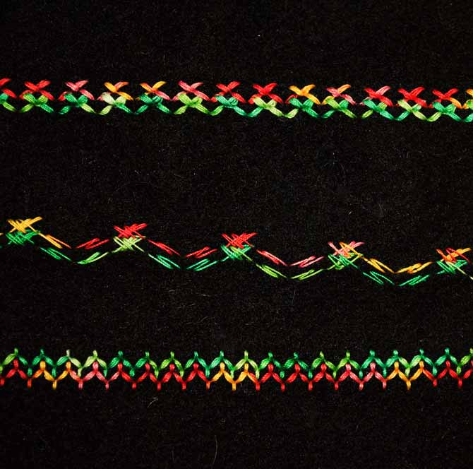 Three different versions of hemstitching stitch on the NQ900, stitched with a twin needle.