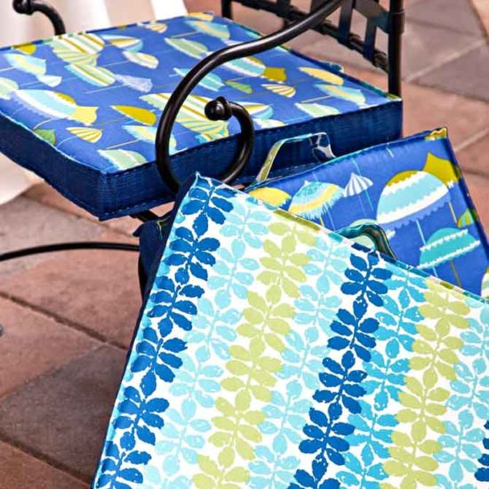 Poolside cushions are comfortable for patio furniture and durable when made with Coats Outdoor Thread