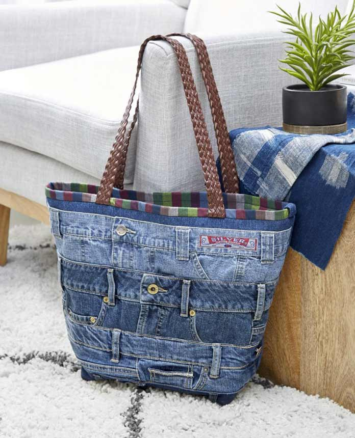 The jean waistband makes for a solid foundation for this Band Together Tote. Coats Denim, Jean Topstitching and All Purpose threads used to recycle denim.