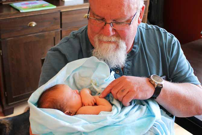 My new Grandson wrapped in his receiving blanket that was dyed with Dylon Permanent Fabric Dyes in China Blue.