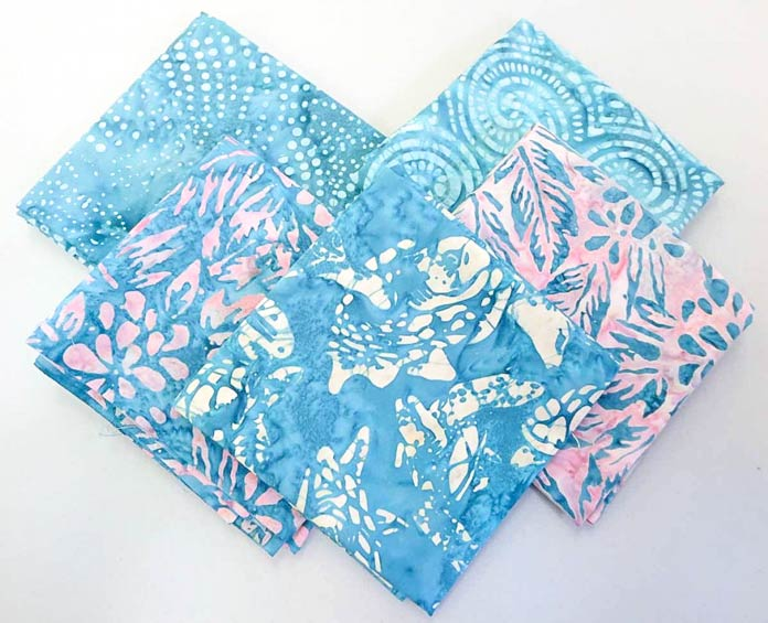 5 fat quarters from the Banyan Batiks Island Vibes collection in the Palm Bay colorway