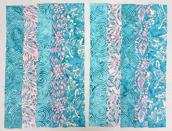 2 strip sets made with curved strip piecing; using Banyan Batiks Island Vibes fabrics to make a modern quilt, placemat, cushion cover etc.
