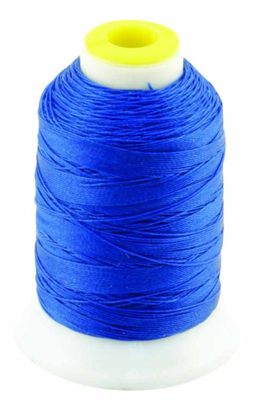200yd spool of Coats Outdoor Thread in blue used particularly for making patio furniture and accessories