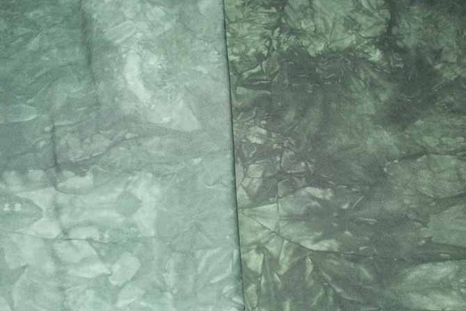 The dark green Dylon Permanent Fabric Dye when used with different amounts of water creates a darker and lighter shade of green.