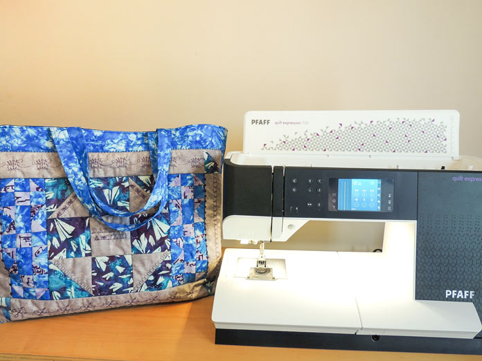 Adding professional touches on quilted tote using the quilt expression 720