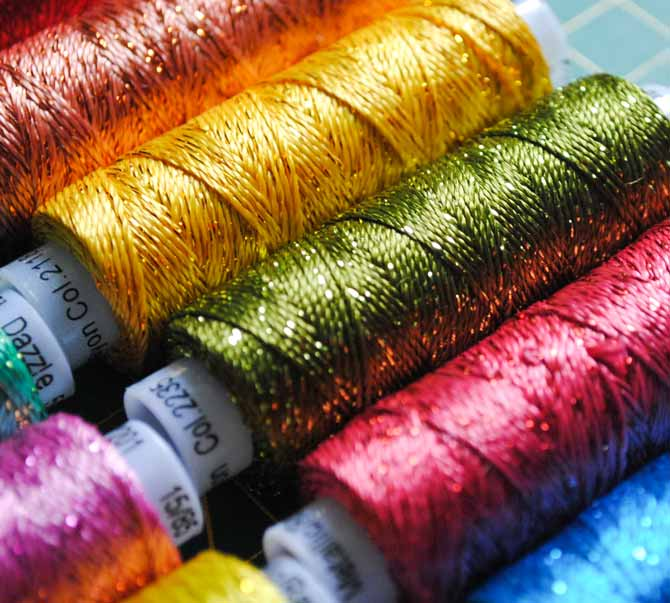 Dazzle threads from WonderFil have a beautiful sparkle and come in an array of lovely colors.