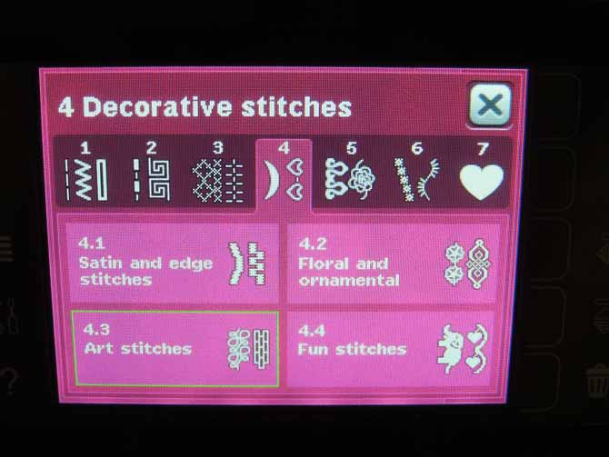 Decorative stitches menu Performance 5.2 Color Touch Screen
