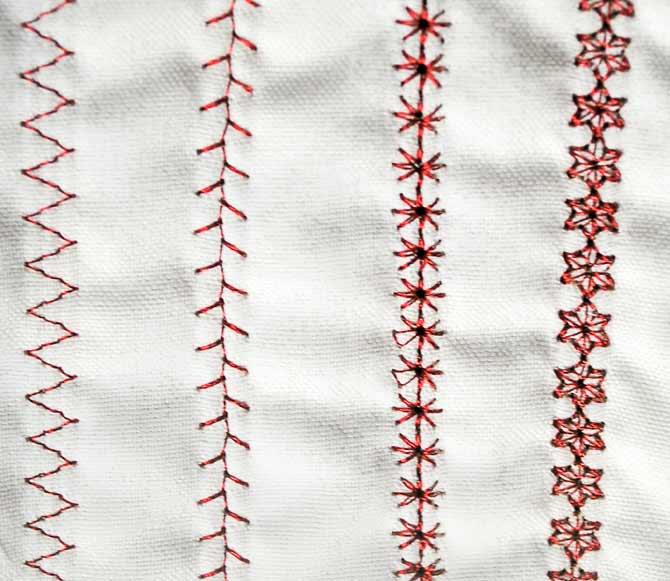 Decorative stitches using Spotlite thread