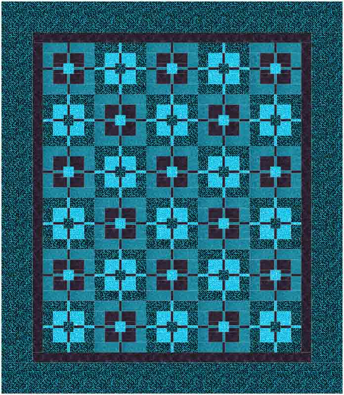 "Quilt design with blocks set 5x6 with borders for a total size of 99"" x 114"""