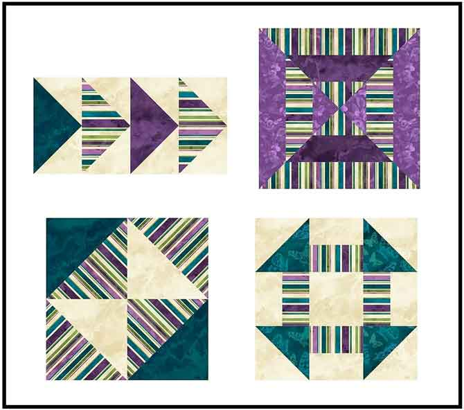 Different blocks made with striped fabrics