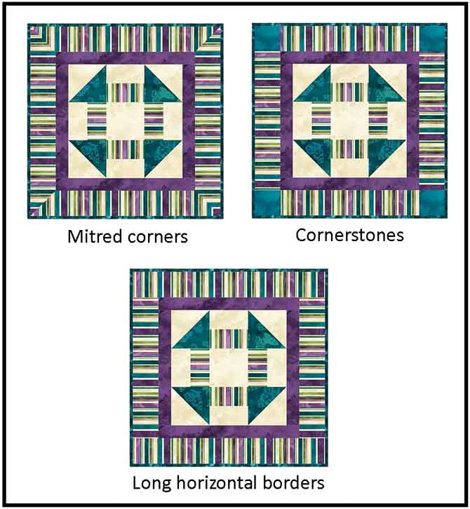 Different border options for striped fabrics