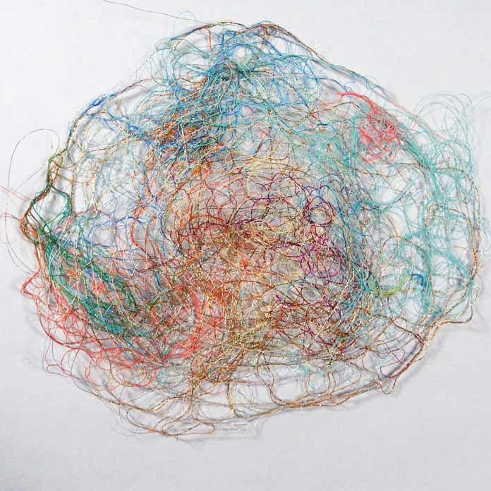 Bird's nest turned into a piece of thread lace
