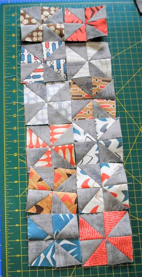 Arranging the pinwheel blocks