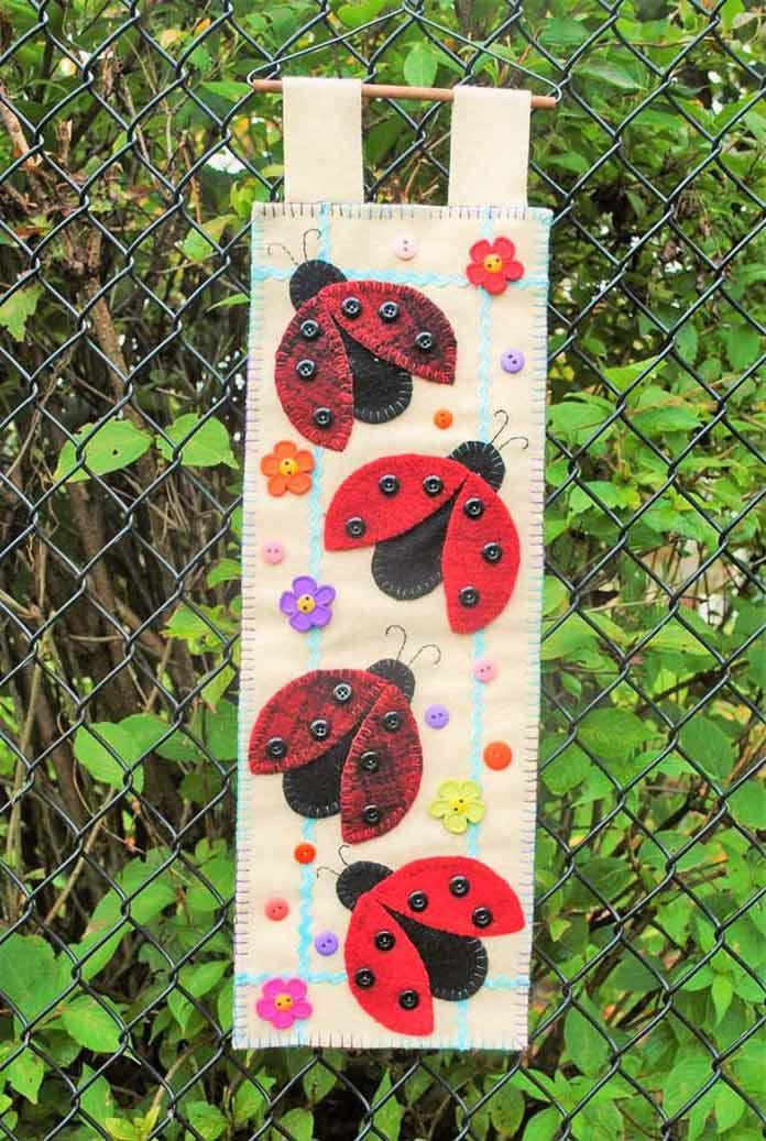 Ladybug Parade wool applique banner