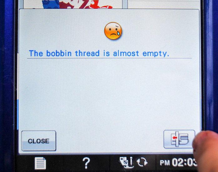 Bobbin empty alert