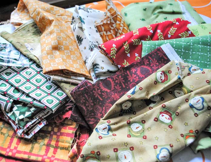 Christmas fabric scraps