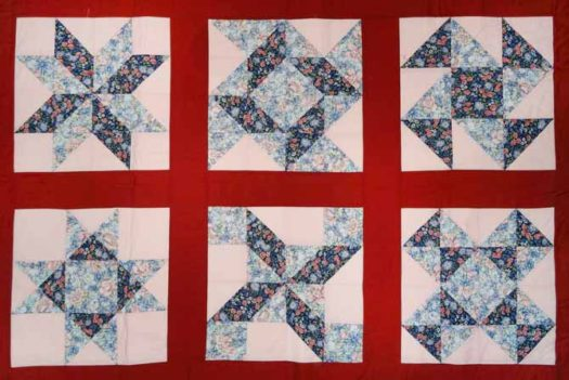 A basic lap quilt, a fun easy quilt for the beginner quilter. An opportunity to learn about blocks using squares, rectangles, half squares triangles and quarter squares triangles.
