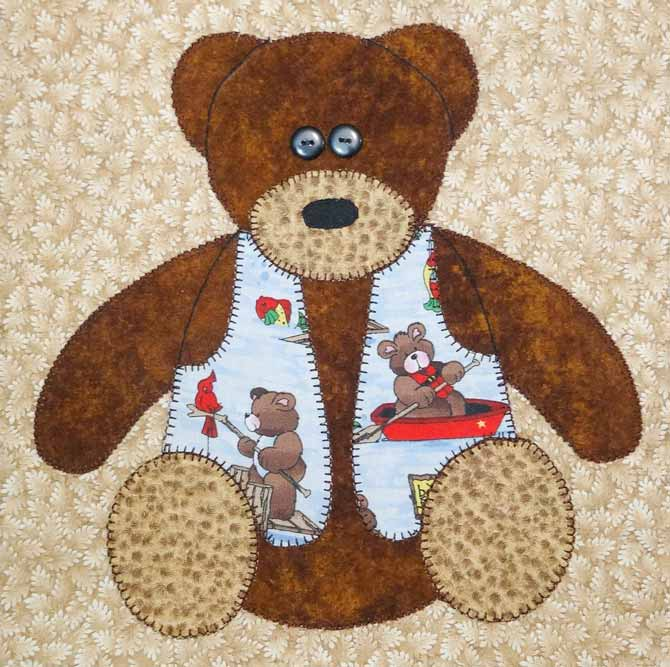 This bear was appliqued by machine. An alternative to hand applique.