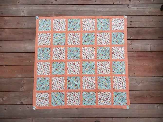 "Completed quilt using simple squares and a 1"" (finished) grid line"