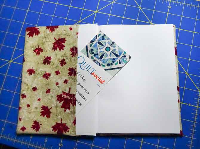 The inside of a completed book cover.
