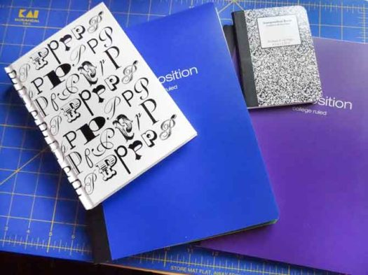 Notebooks purchased from different locations that could use a cover