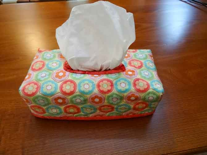 Completed tissue box cover