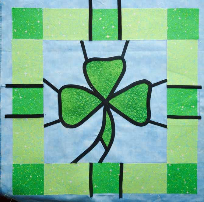 Another length of bias tape was used to finish outlining the the remainder of the shamrock.