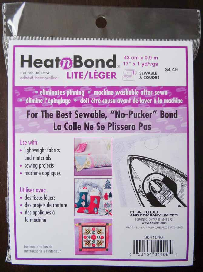 "A package of HeatnBond lite containing a sheet of stabilizer that is 17"" X 1 yd."