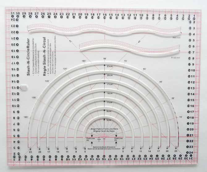 The Komfort KUT Slash-N-Circle ruler also has the ability to be used but as a template to cut out curved pieces or circles and can be used to draw curves or lines on quilt top for quilting.