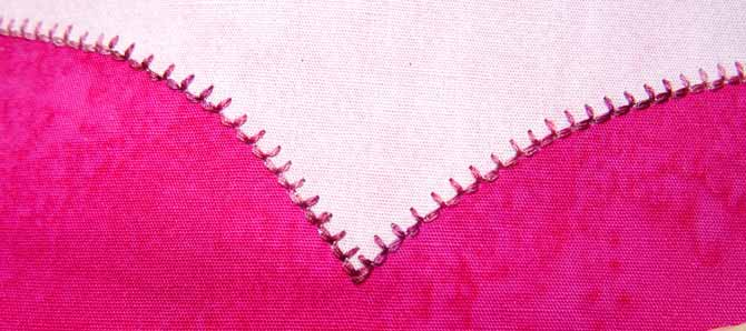 A section of the applique with the blanket stitching completed. WonderFil DecoBob Prewound Bobbins.