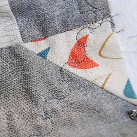 Close-up of the kite stitch