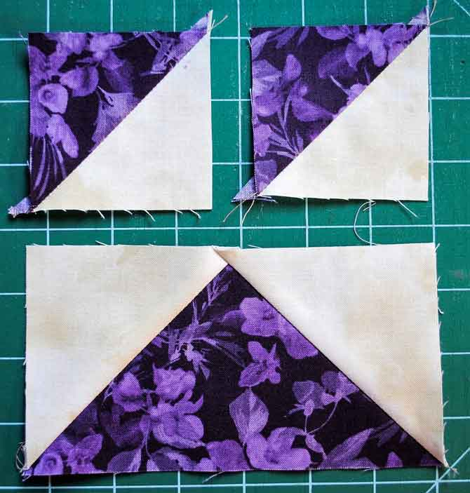 One flying geese block and two half square triangle blocks