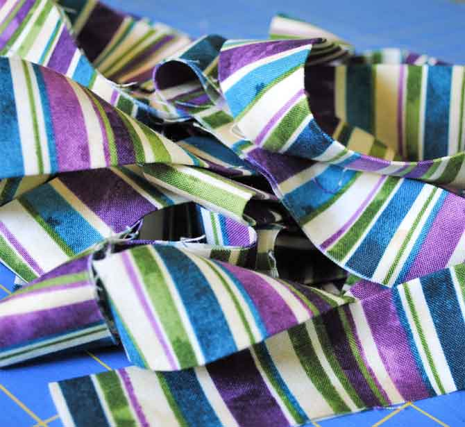 Striped binding made with the Mystic Garden fabric