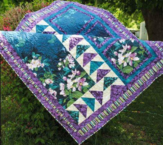 Mystic Garden lap quilt using Northcott fabrics
