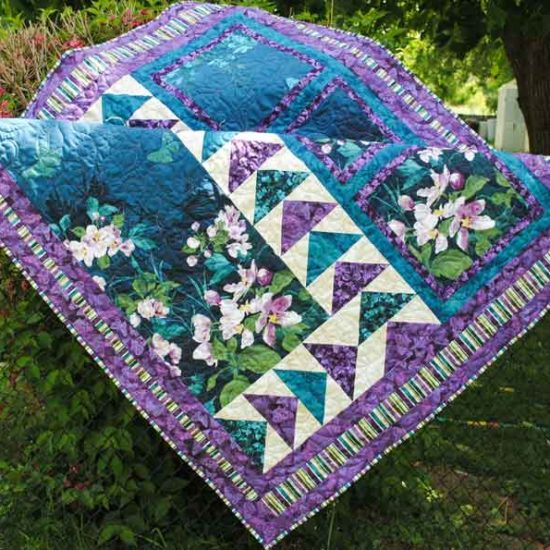 Mystic Garden lap quilt using Northcott fabrics