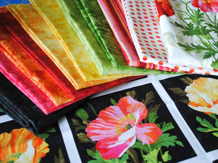 A selection of fabrics from the Full Bloom line of fabrics from Northcott.