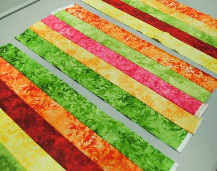 The strip sets sewn with 5 strips of Full Bloom fabrics from Northcott.