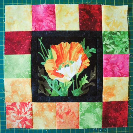 The finished block made with Northcott's Full Bloom line of fabric.