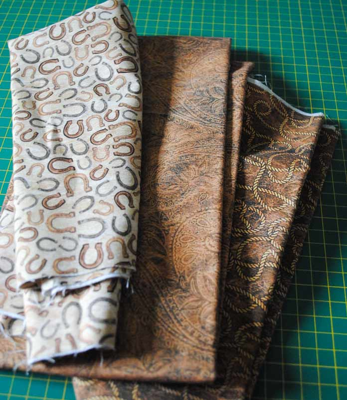 Selecting fabrics for the applique shapes