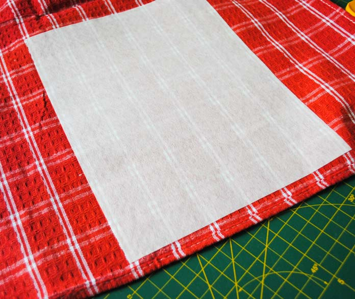 Stabilizer ironed to back of tea towel
