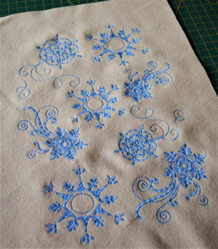 The finished snowflake embroidery