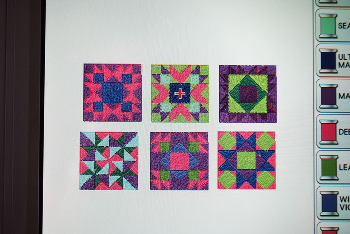 The six block embroidery designs
