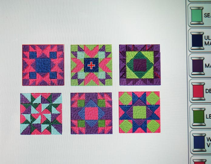 The original colors of the block embroidery designs