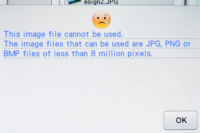 Error message with file that is too large