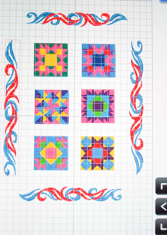 Lining up the quilt block embroidery images