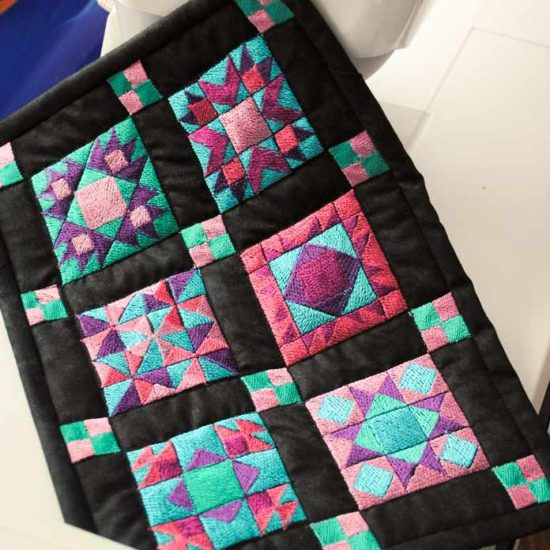 The finished miniature quilt
